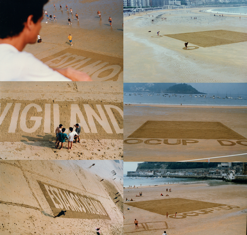Ricardo Basbaum, Igor Vamos, Dale Yeo, Elisabeth Mc Lendon, Daniel García Andújar Cerrado - Estamos Vigilando – Ocup do (Closed – We are watching – Occup d), 1994 Video documentation of a threepart intervention with rakes at the beaches Playa de Gros and Playa de La Concha in San Sebastian in July 1994.